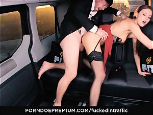 torn up IN TRAFFIC - Footjob and car romp with Tina Kay