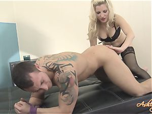 Blazing Ashley Fires fills a plaything up this dudes bootie