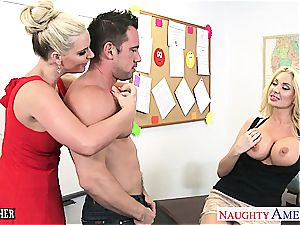 light-haired stunners Phoenix Marie and Summer Brielle share pecker