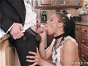 sizzling ebony maid almost get caught