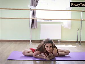 super-naughty gymnast Inessa in a red sundress