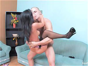 asian pornstar Asa gets her taut labia nailed