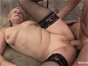 elderly grandmother takes a honeypot fuckin' on the bed