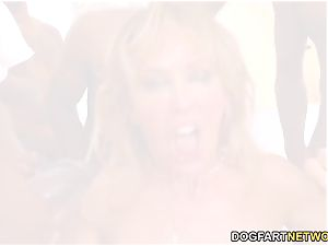 Cherie DeVille Gives blowjob To A gang Of black guy