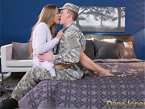 Dane Jones stiff fellating and banging sloppy Army wifey