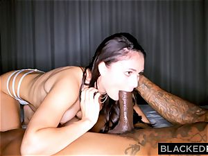 BLACKEDRAW nasty black-haired wife loves ebony dick in her motel apartment