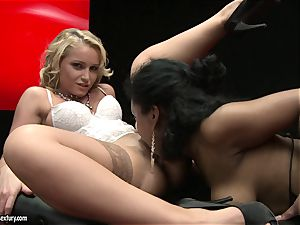 stellar Kathia Nobili likes finger tearing up her colleagues sugary-sweet raw cootchie slot