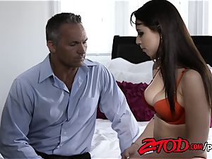 Aidra Fox and Marcus London banging on couch