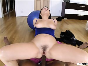Valentina Nappi bounces on a huge ebony weenie