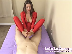 clothed damsel gives you hj and footjob