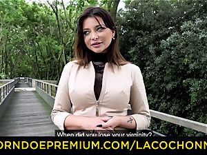 LA COCHONNE - cum in gullet and double penetration for Anna Polina
