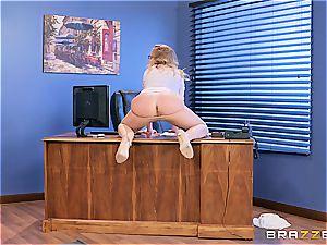 Britney Amber takes bone at work