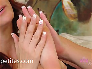 Rahyndee and Alicia Silver have fun With Each Other's feet