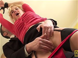 Mature uk slave gets handcuffed and predominated over