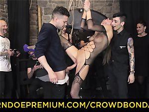 CROWD bondage - extreme bondage & discipline shag wheel with Tina Kay