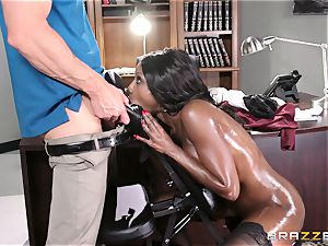 dark-hued boss Diamond Jackson sensuous massage and glad finishing