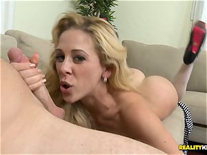 Mature hottie Cherie Deville pounded on the sofa