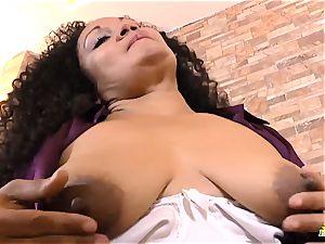 LatinChili curvaceous Mature Sharon Solo getting off