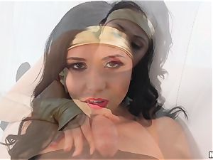 super Ariana Marie inhales super man-meat