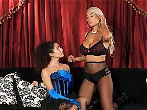 Bridgette B puts steaming secretary Lana Lovelace thru her paces