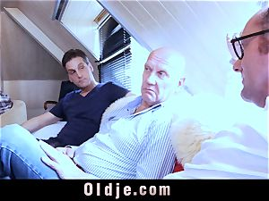 six oldman pulverizing in group a splendid warm light-haired