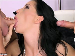 man-meat starving whore Larissa Dee is sucking one pillar at a time with sensation