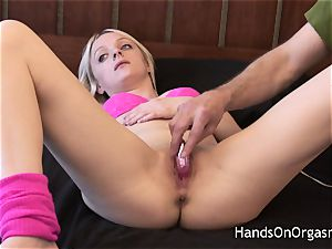 molten ash-blonde jerked By aged camera operator To hefty orgasm