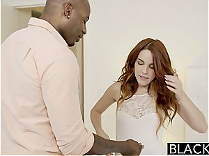 smallish ginger-haired Amarna nearly gasping on ebony hard-on