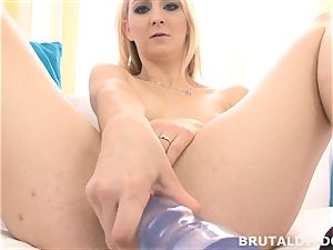 Russian ash-blonde Katerina Gold slams a hefty brutal fuck stick