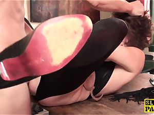 ginger-haired british marionette booty-fucked and strapped