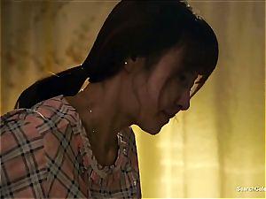 japanese Chae Min-Seo on her knees gargling shaft