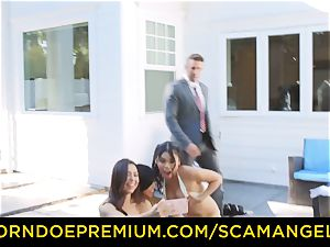 SCAM ANGELS - sizzling Melissa Moore porked in naughty 4some