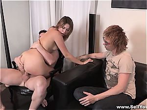 Amber is nailed hard while her guy watches