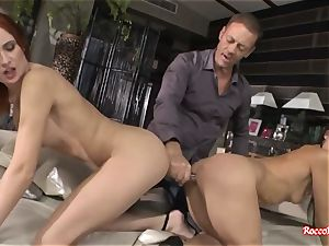 Rocco Siffredi Ravishes culos of 3 sloppy pornography femmes