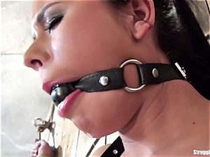 Mia corded spread-eagle ball-gagged leisurely vibed to climax