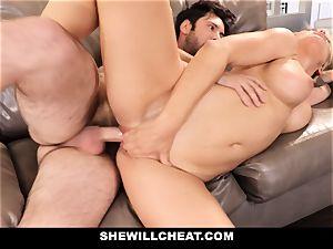 SheWillCheat cuckold wifey Gags on boner