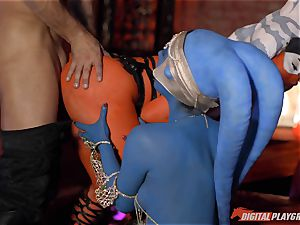 Aliens Eva Lovia and Aria Alexander take on stiff fuck-stick