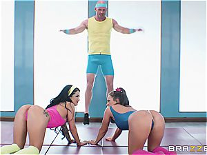 Johnny, Abi and Kat have a post-workout threesome