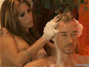 sensual rubdown For His weakened hard-on