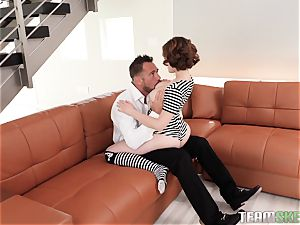 Ginger Aria Skye inserted in her sizzling wet impatient labia by Johnny