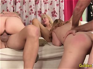 four crazy elderly bi-otches Work Their gullets and pussies in a super-hot Mature bang-out