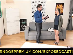 uncovered casting - cute nerdy stunner poked on audition